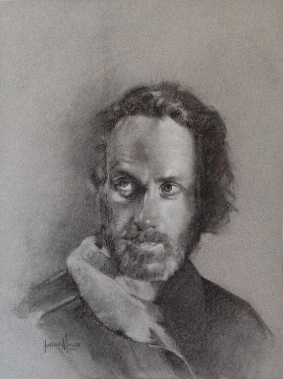 Original Charcoal Drawing: Rick Grimes