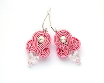 Butterfly earrings, pink earrings, swarovski earrings, small earrings, casual earrings, dangle earrings, soutache earrings, crystal earrings