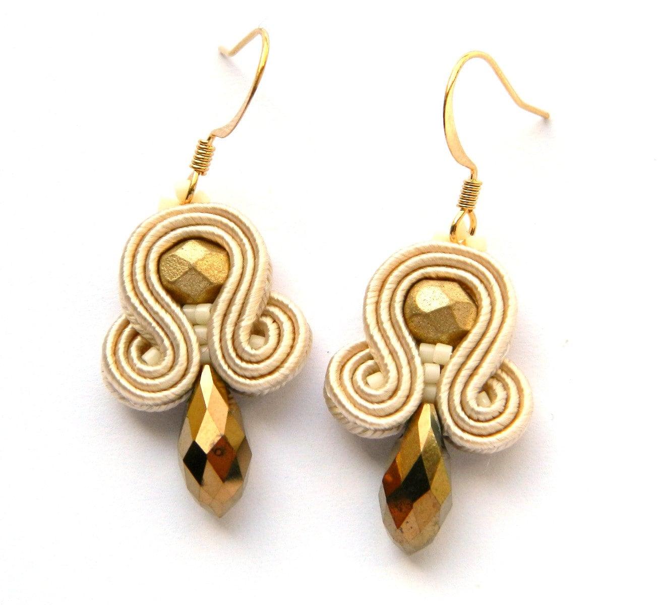 gold dangle earrings drop earrings soutache earrings