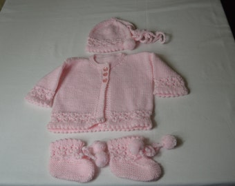 Knitted Baby sweater set with hat and booties