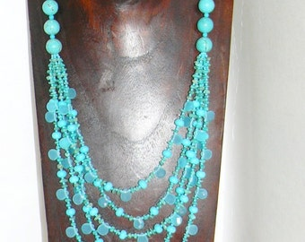 5 Strand Blue Chalcedony Turquoise Necklace