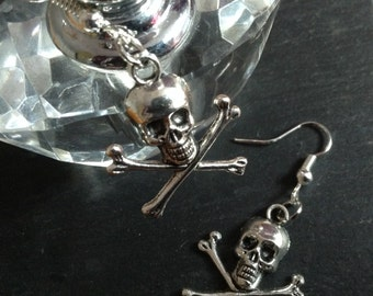 GOTHIC Silver Tone Skull and Cross Bones - Crossbones Hook Dangle Drop Earrings