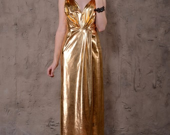 Golden evening dress