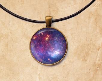 Nebula pendant Milky Way necklace Purple Space jewelry