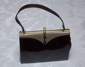 Brown and Tan Vintage Clarks Handbag