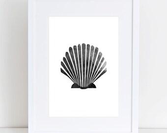 Seashell Art, Black & White Sea Shell Print, Beach Decor, Nautical Decor, Scallop Wall Art, Watercolor Shells, Ocean Print, Printable Art
