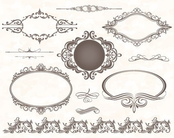 Instant Download Grey Frame Border ClipArt Flourish Swirl Digital Frame Ornate ClipArt Grey Vintage Frame Decor Scrapbook Embellishment 0008