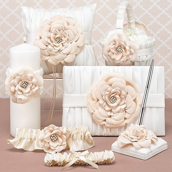 Ivory Wedding Ceremony Set, ring bearer pillow, flower girl basket, guest book, garter, pen set, unity candle - Matching Ceremony Set