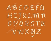 HANDWRITTEN CURSIVE Letter Stencils A-Z Alphabet Set. Choose Uppercase, Lowercase or Both 1 to 3 Inch Sizes Available - Item Code:Et151