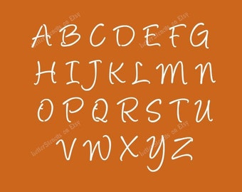 HANDWRITTEN CURSIVE Letter Stencils A-Z Alphabet Set. Choose Uppercase, Lowercase or Both 1/2 to 6 Inch Sizes Available - Item Code:Et151
