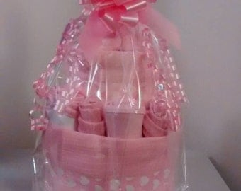 2 Tier Pink Nappy Cake