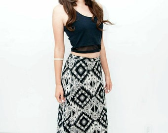 On Sale ~ Ethnic print full-length wool skirt