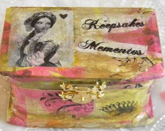 Keepsakes Mementos Decoupage Small Wooden Box OOAK