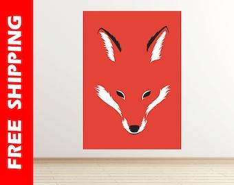 Shape of fox wall decal, fox wall decor vinyl, fox decal nursery wolf print, cool fox illustration large orange print by Robert Farkas RF21