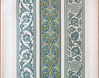 1885 original print - Faïences murales, Bordures - La Decoration Arabe, Prisse d'Avesnes - Lithograph, Patterns