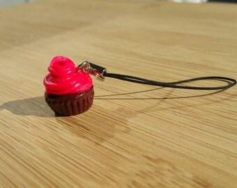 Hot pink cupcake phone charm
