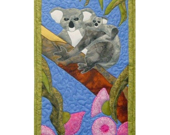 Koalas is a quilted applique pattern for a wall hanging