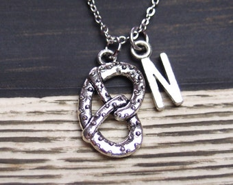 initial necklace, pretzel necklace, long necklace option, silver pretzel charm , salted pretzel jewelry, food charm necklace