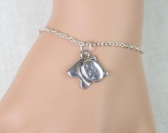 sweet kitten bracelet, silver cat charm on silver plated chain, thick kitty cat, girls jewelry, children bracelet, adjustable bracelet