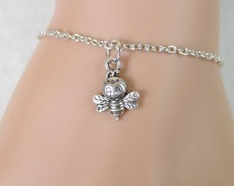 little bee bracelet, silver bee charm , honeybee bracelet, bee jewelry, silver bee bracelet, gift idea, christmas gift, adjustable bracelet