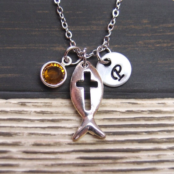 Initial necklace christian fish necklace birthstone for Christian fish necklace