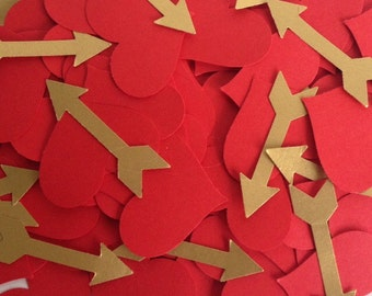 Wedding/Party table confetti, Red Hearts and Gold Arrows