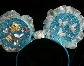 CInderella inspired mouse ears headband with crown