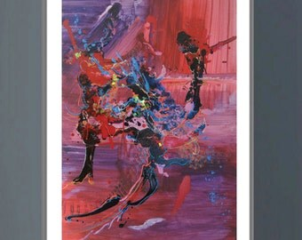 DANCER Abstract modern art print from original mixed media