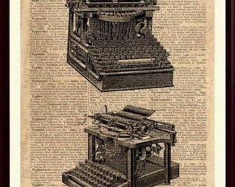 """Vintage Typewriter Print, Typewriter Decor, vintage dictionary page reproduction featuring the word """"Typewriter"""" on Antiqued Paper"""