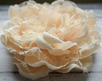 Cream Satin and Lace Wedding Flower Hair Clip, Bridesmaid Hair clip, Bridal Hair Clip, Wedding,