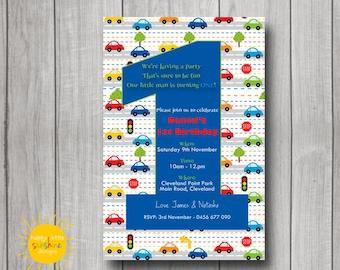 Boy Birthday Invitation Personalised Printable 1st Birthday Cars Theme