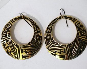 Vintage 18k Gold Filled Large Hoop Earrings