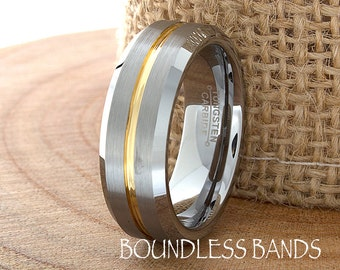 Wedding Band Single Grooved Gold Satin Finish Beveled Ring Tungsten Band Mens Ring Mens Wedding Ring Laser Engraving Anniversary Band Modern
