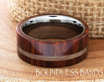 Tungsten Wood Wedding Band Flat High Polished Ring Comfort Fit Tungsten Band Mens Ring Mens Wedding Ring Wood Wedding Ring New Anniversary