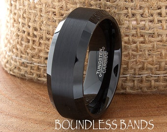 Black Tungsten Band Beveled 8mm Custom Laser Engraved Tungsten Anniversary Ring Couple Wedding Ring Mens Womens Ring Brushed Black His Hers