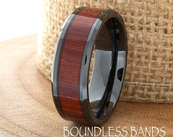 Wood Ceramic Wedding Band Black Wood Wedding Ring 8mm Mens Womens Wood Anniversary Ring Custom Laser Engraved High Polished Beveled His Hers