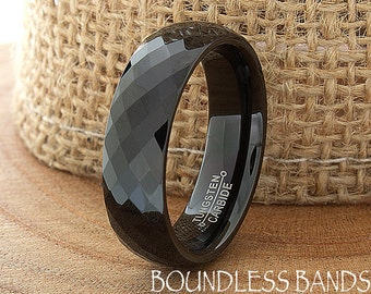 Tungsten Ring Tungsten Wedding Ring Mens Women's Wedding Band Promise Anniversary Engagement 6mm Matching Ring Set Faceted Diamond Cut Black