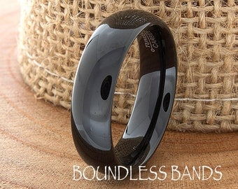 Tungsten Wedding Band 6mm Black Wedding Band Mens Wedding Band Engraving Anniversary Brushed Polish Size Mens Ring Mans Rings Set His Hers