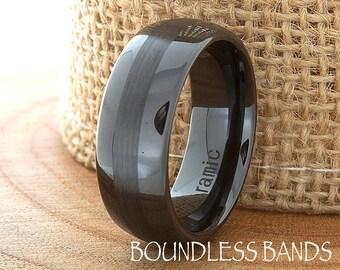 Ceramic Wedding Band,Mens Ring,Mens Wedding Bands,Custom Made,Rings,Black Ceramic Band,8mm,Engraving,Mans,Anniversary,His,Set,Size,Women,10