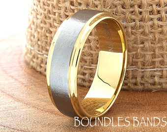 Gold Tungsten Wedding Band Ring Stepped Two Tone Customized Laser Engraved Ring Mens Womens His Hers Unisex Ring 6mm Design Classic Modern