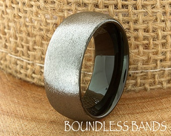 Two Tone Wedding Band Ring Tungsten Carbide 8mm Tungsten Brushed Ring Man Wedding Band Male Women Custom Black Enameled Anniversary Mens New