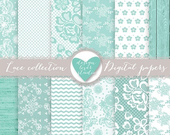 Premium Lace digital papers, TEAL wedding digital, wood, rustic, shabby chic, heart digital papers, Premium Digital Lace