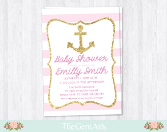 Nautical Baby Shower Invitation,Pink Glitter Anchor,DIY Printable Baby Shower Invitation