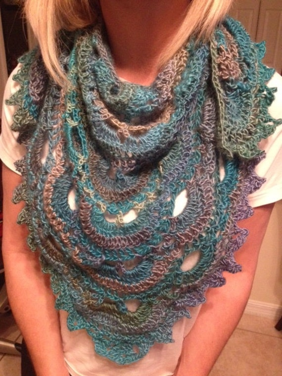 Scalloped Triangle Shawl Crochet Pattern : Triangle Scalloped shawl scarf blue multi-color crochet