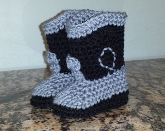 Black and Gray cowboy boot style baby booties