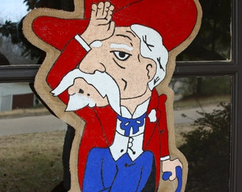 Fins Up Colonel Reb Burlap Door Hanger