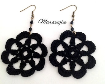 Crochet Earrings, Orecchini Uncinetto, 100% Cotton Thread, Handmade Jewelry