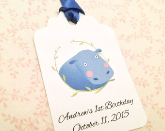 Animal Birthday Thank You Favor Tags-Hippo Hippopotamus Personalized Gift Tags-Set of 12