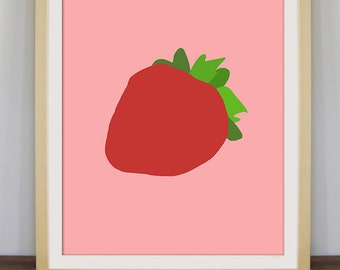 Strawberry art, fruit print, kitchen decor, strawberry poster, fruit art, contemporary art