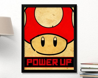Mario poster, Super Mario mushroom, video game poster, Nintendo poster, vintage games